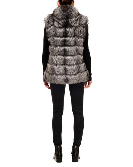 Gorski Horizontal Silver Fox Fur Block Vest