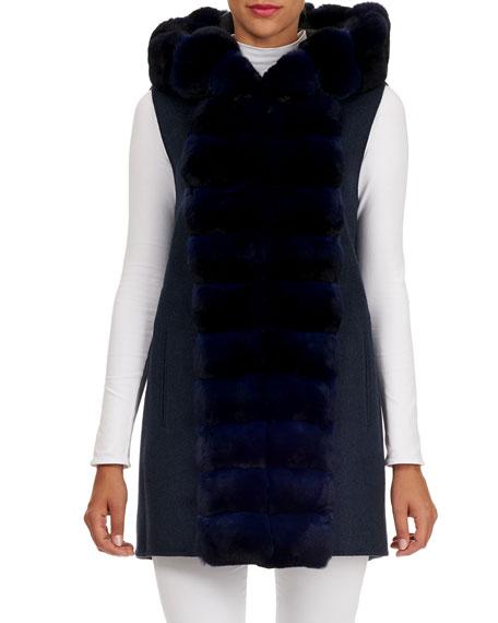 Fabio Gavazzi Hooded Wool-Cashmere Parka Jacket w/ Detachable Vest & Chinchilla Trim