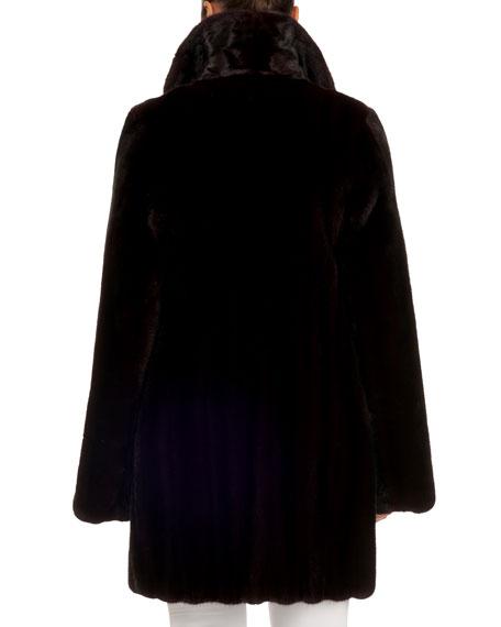 Zac Posen Notched-Collar Mink Fur Stroller Coat