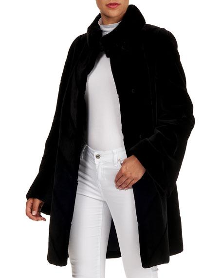 Norman Ambrose Velvet & Mink Fur Stroller Coat with Stripes