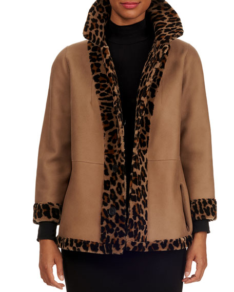 Image 4 of 5: Michael Kors Collection Reversible Shearling Jacket