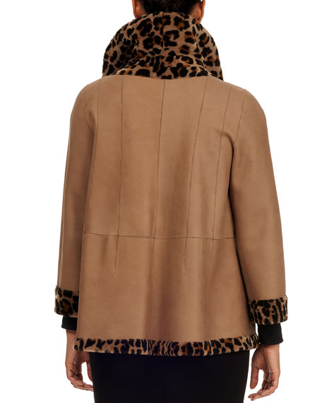 Image 5 of 5: Michael Kors Collection Reversible Shearling Jacket
