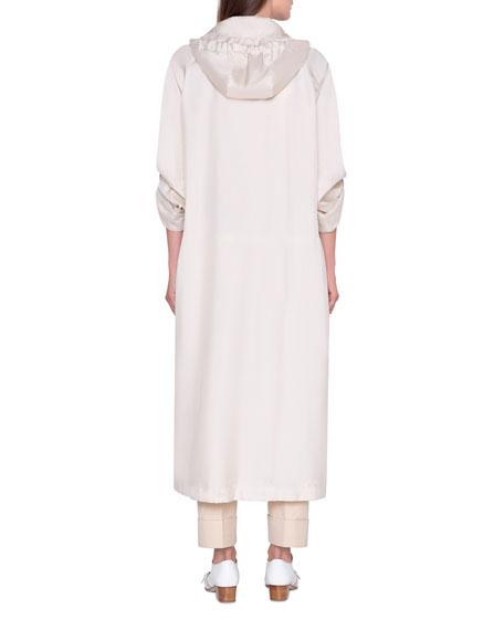 Akris Silk Snap-Hem Hooded Trench Coat