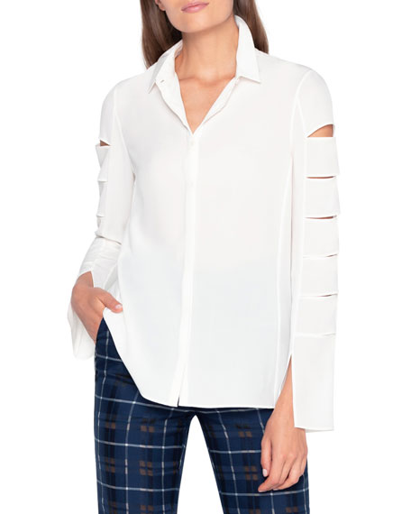 Akris Collared Button-Down Blouse with Slit Sleeves
