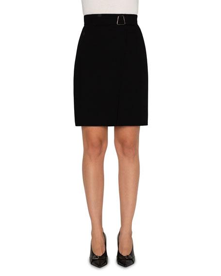 Akris Wool Double-Face Faux Wrap Skirt