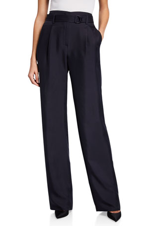 LAPOINTE Silk High-Rise Belted Wide-Leg Pants