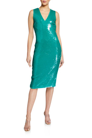 LAPOINTE Sequined V-Neck Shift Dress