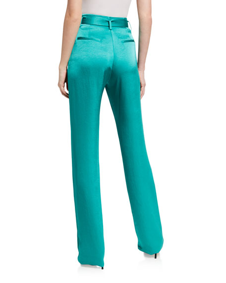 Image 2 of 3: LAPOINTE Silk High-Rise Belted Wide-Leg Pants