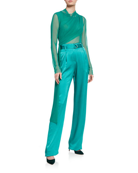 Image 3 of 3: LAPOINTE Silk High-Rise Belted Wide-Leg Pants
