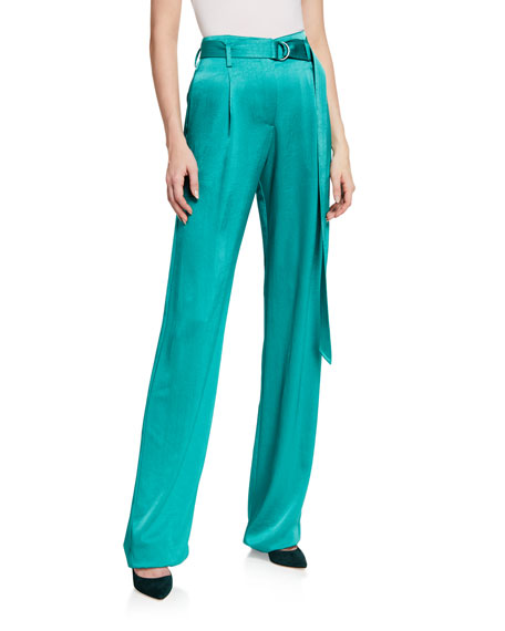 Image 1 of 3: LAPOINTE Silk High-Rise Belted Wide-Leg Pants