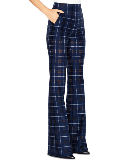 Akris Farida Sheer Plaid Boot-Leg Flat-Front Pants