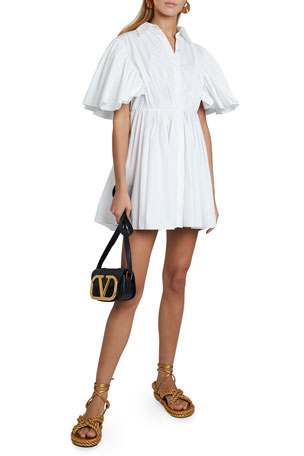 Valentino Short-Sleeve Pleated Cape Cotton Shirtdress