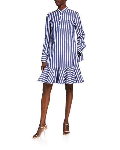 Ruffle-Back Striped Poplin Shift Dress