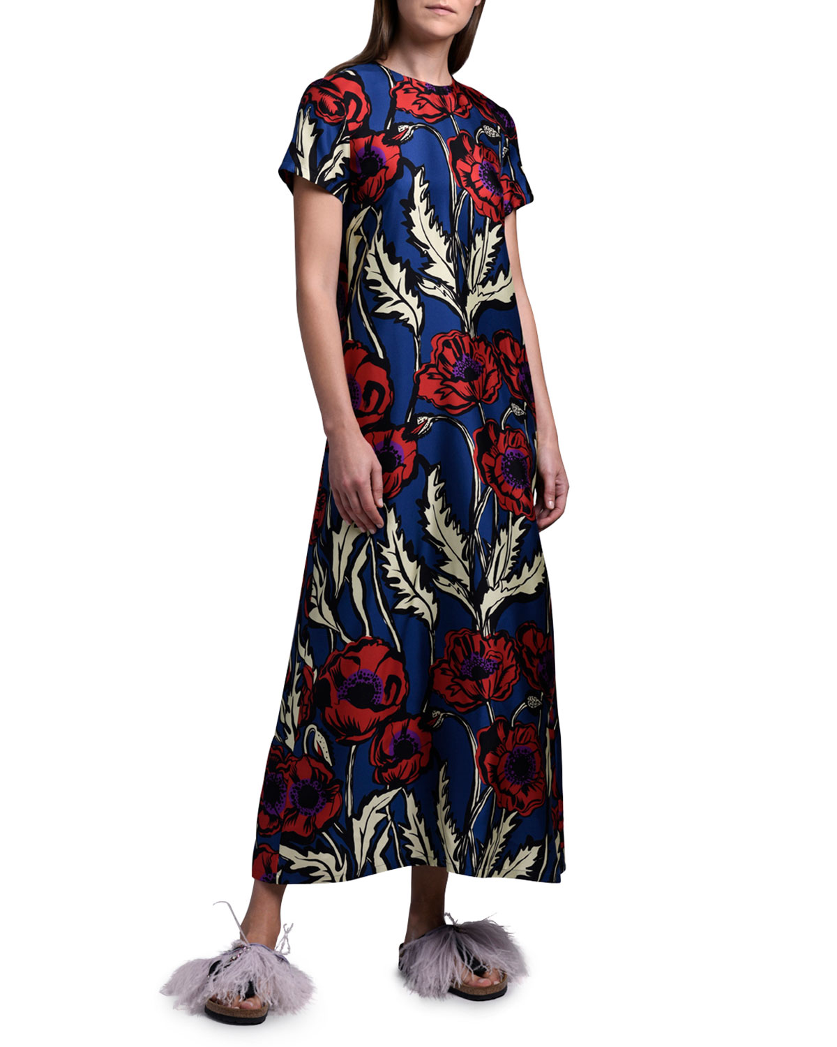 Double J Floral Long Silk Swing Dress