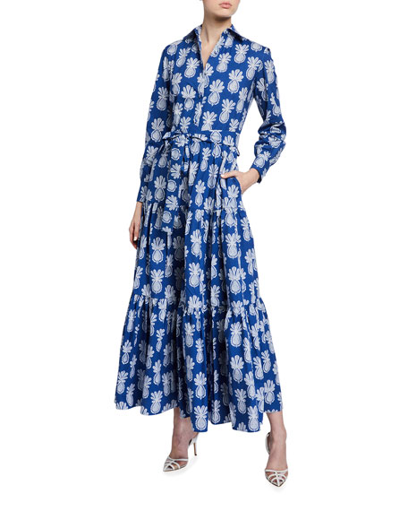 Double J Bellini Long-Sleeve Pineapple-Print Cotton Shirtdress
