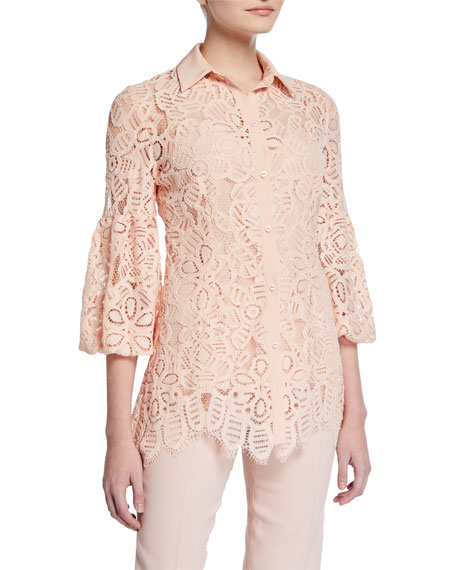 Lela Rose Full-Sleeve Lace Shirt