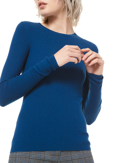Michael Kors Collection Cashmere Fitted Crewneck Sweater