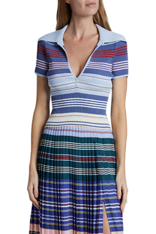 Altuzarra Hatch Striped Jersey Polo Top