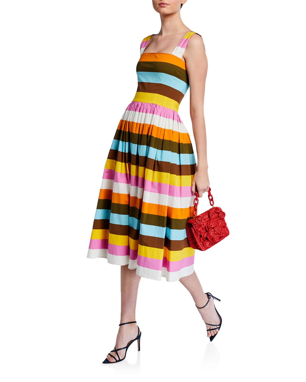Oscar de la Renta Striped Poplin Day Dress