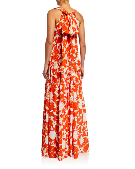 Image 2 of 3: Oscar de la Renta Leaf Print Silk Day Dress