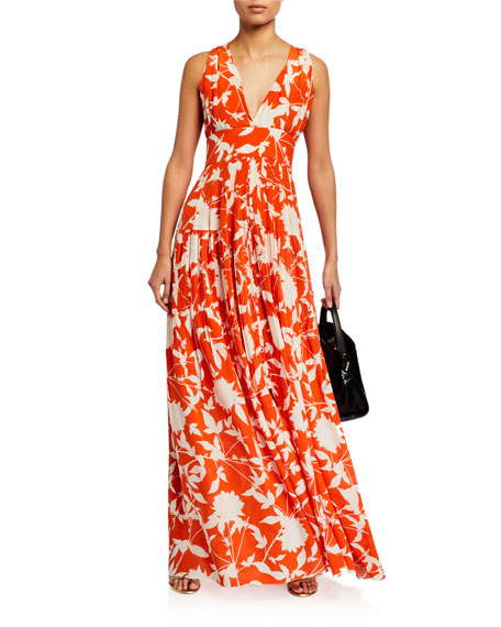 Image 3 of 3: Oscar de la Renta Leaf Print Silk Day Dress