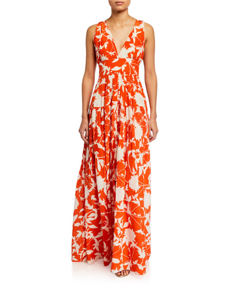 Image 1 of 3: Oscar de la Renta Leaf Print Silk Day Dress