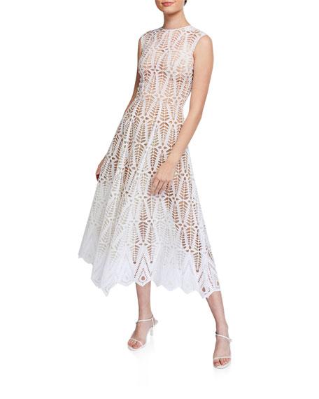 Oscar de la Renta Cotton Lace Midi Dress