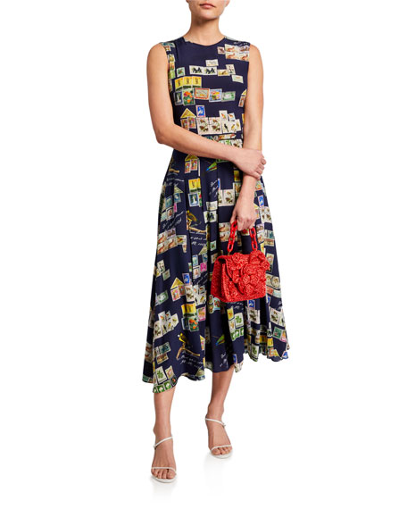 Image 2 of 3: Oscar de la Renta Stamp Print Silk Day Dress