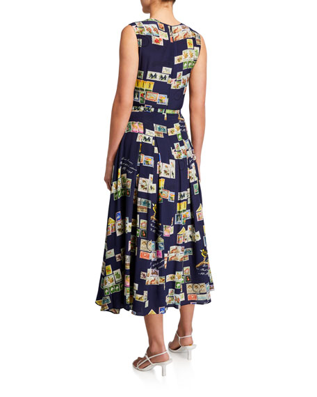 Image 3 of 3: Oscar de la Renta Stamp Print Silk Day Dress