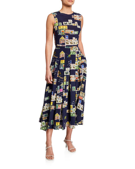 Image 1 of 3: Oscar de la Renta Stamp Print Silk Day Dress