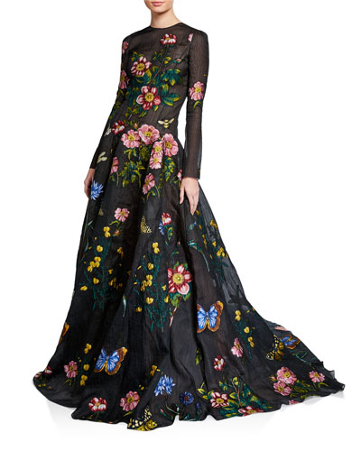 Silk Long-Sleeve Ball Gown with Floral Applique