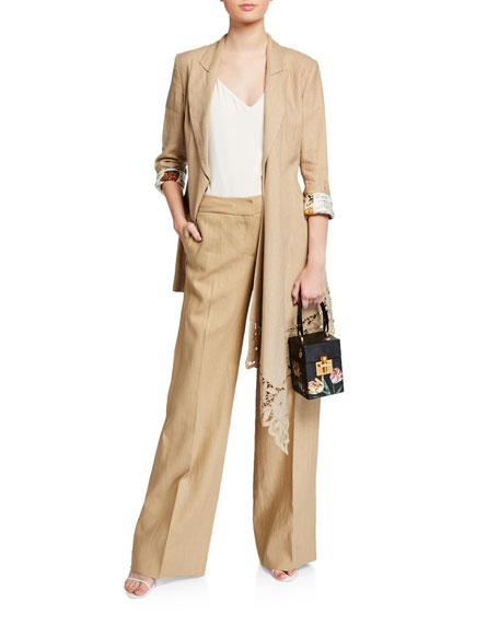 Oscar de la Renta Lace-Trim Linen Wrapped Blazer Jacket