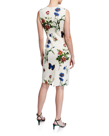 Oscar de la Renta Floral Print Midi Sheath Dress