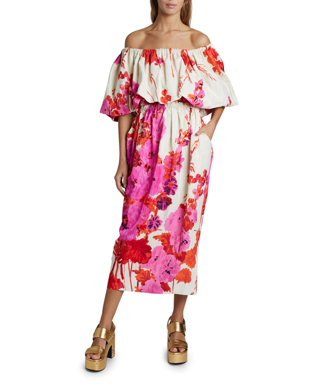 Dries Van Noten Dayna Off-the-Shoulder Floral Puff-Sleeve Dress