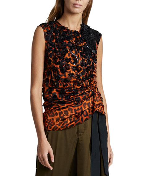 Dries Van Noten Leopard Embroidered Ruched Top