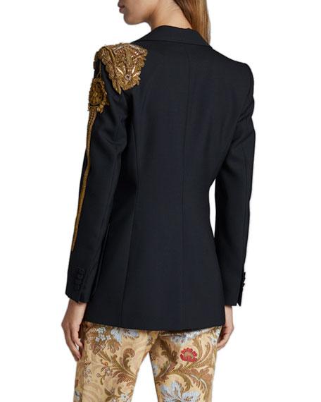 Dries Van Noten Bailey Embellished-Shoulder Single-Breasted Blazer