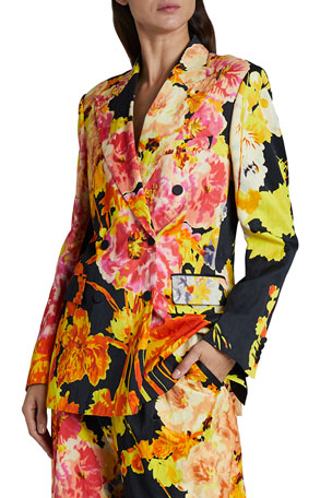 Dries Van Noten Balto Printed Floral Double-Breasted Blazer Jacket