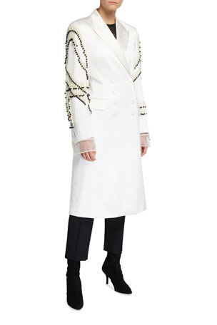 Dries Van Noten Rhoda Pearl Embroidered-Sleeve Double-Breasted Coat