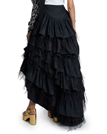 Dries Van Noten Layered Feather Skirt