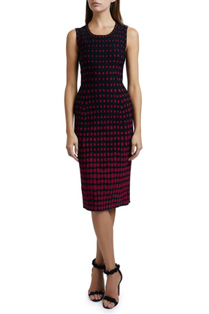 ALAIA Polka-Dot Sleeveless Scoop-Neck Dress