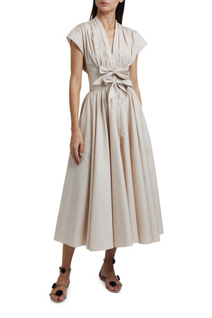 ALAIA Short-Sleeve Poplin Dress with Two-Bow Waist Detail