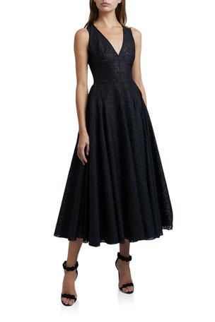 ALAIA Swirl Embroidered Print Dress