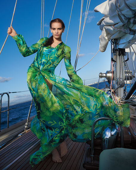Versace Jungle Print Silk Long-Sleeve Maxi Dress