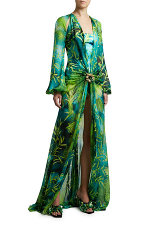Versace Jungle Print Silk Long-Sleeve Maxi Dress $6825.00