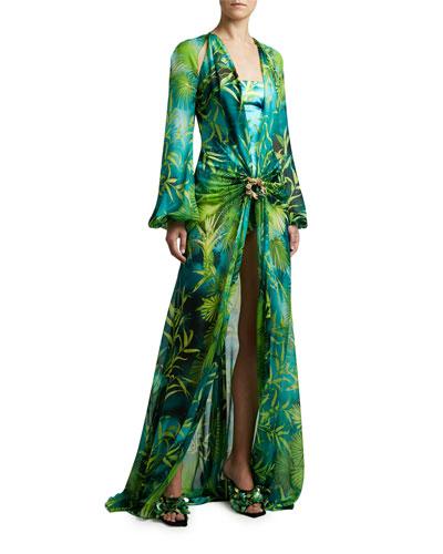 Jungle Print Silk Long-Sleeve Maxi Dress
