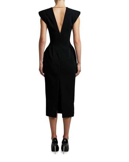 Versace Crepe Square-Neck Midi Dress