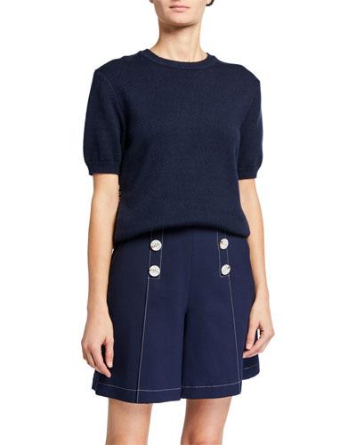Smocked Short-Sleeve Sweater