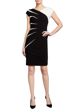 Escada Two-Tone Jersey Cap-Sleeve Dress