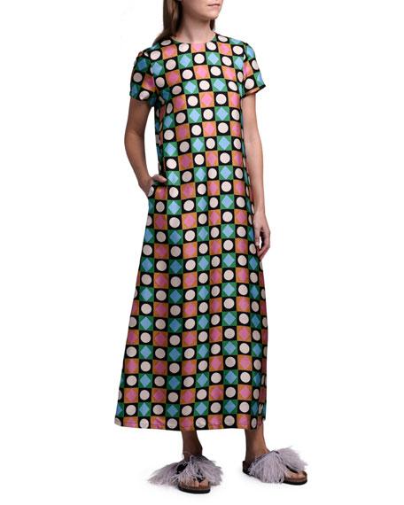 Double J Geometric Long Silk Swing Dress