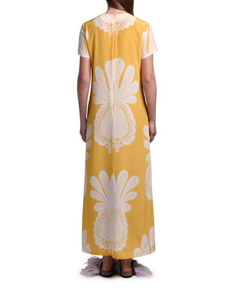 Double J Printed Long Silk Swing Dress